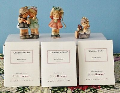 3 Berta Hummel Christmas Ornaments Studio Hummel Set No. 7 Mib