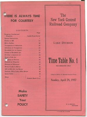 New York Central Railroad Company Lake Division Employee Time Table No.1, 1957