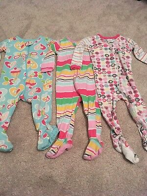 Lot Set Of 3 Toddler Girls Zip Up Pajamas 12 Months The Childrens Place