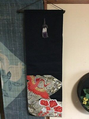Japanese handicraft tapestry, made of embroidred OBI, hanger incl. - 90 x 30cm