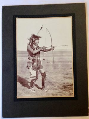 Vintage Roland Reed Photo - Native American Warrior Witih Bow & Arrow