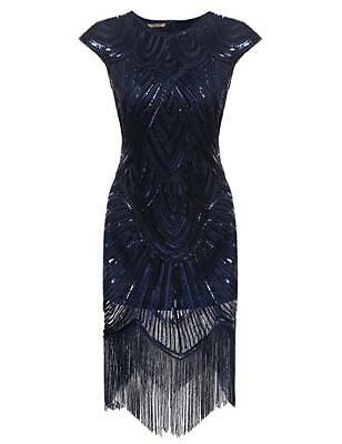 Navy 1920's flapper dress, 20s sequin costume dress, flapper, fringe