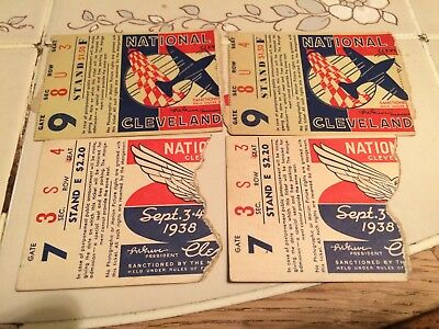 Antique national air races Cleveland Oh ticket stubs 1937 1938 aviation old