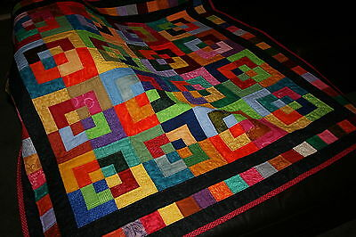 """Hand Made Quilt """"CORNER BLOCK"""" Design by Quilt-Addicts 49"""" square"""