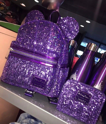 2019 Disney Purple Potion Sequined Minnie Mouse Back Pack & Wallet Loungefly NEW