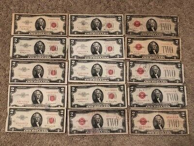 15 ✯1928, 1953 & 1963  Two Dollar LOT OF 15 Red Seal ✯$2 Bill ✯ LOT OF 15 LQQK