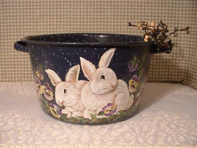 Vintage Enamel Kitchen Cook Pot Rabbits Pansy Flowers Hand Painted Art By Jmd