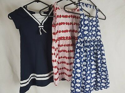Lot Of 3 Girls Dresses 4-6 H&M Sailor, Strawberry Print, Whale Print cotton
