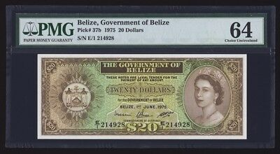Belize 20 Dollars 1975 P37b PMG Choice Uncirculated 64