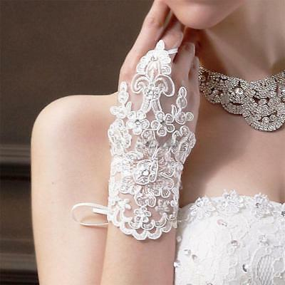 NEW Ivory  Party Fingerless Lace Short Paragraph Bridal Wedding Gloves W1214