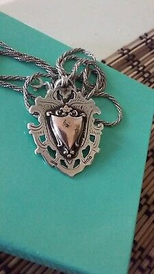 Antique Sterling silver And 9ct Gold Fob Shield Pendant And Rope Chain