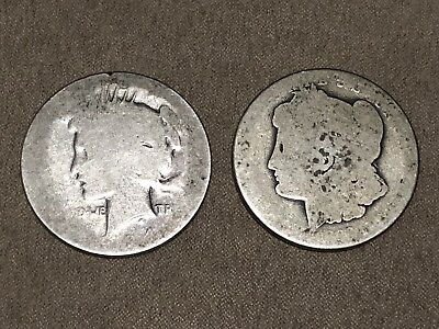 Worn Morgan And Peace Dollars New Orleans Mint Silver Dollars Coins Lot No Year