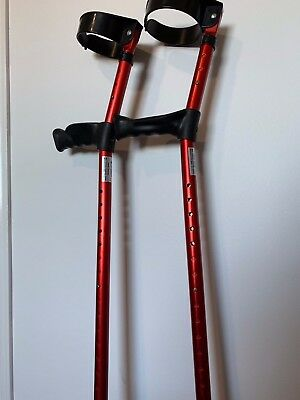 Double adjustable Elbow Crutches, Red aluminium Up To 160kg