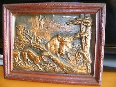 Very Rare Vintage Picture Depicting Wild Boar Hunt In Tin Plate Brass Coloured