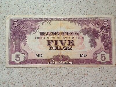 Japanese Government 5 Dollar Banknote / Md /  Wii Invasion Money