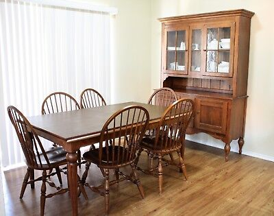 Ethan Allen Country Crossings Dining Room Table, 9 Chairs and China Cabinet