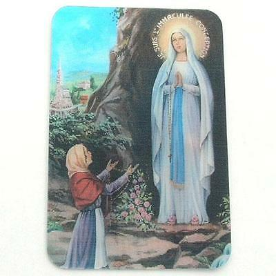 Holographic 3D Effect Lenticular Stereoscopic Our Lady of Lourdes Holy Card
