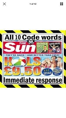 ⛱⛱The Sun Holidays Booking Codes £9.50 ALL 10 Token Code Words *Fast Response*⛱⛱