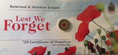 2012 Australia $2 Remembrance Day Red Poppy On Rsl Certificate