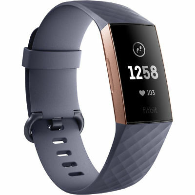 Fitbit Charge 3 - Blue-Grey/Rose Gold Aluminium Smart Fitness Watch *BRAND NEW*