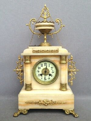 Big antique Napoleon III style french clock bronze and marble 19th century work