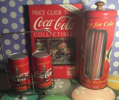 Very Cool Rare Coca Cola Collectibles Lot, Book, Straws, Salt And Peper Shakers