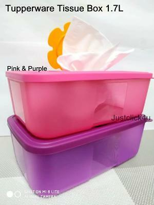 2 TUPPERWARE TUPPERCARE WIPES DISPENSER TISSUE BOX 1.7L Pink & Purple