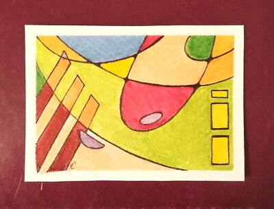 "ACEO Original Penny Sale 0.01 Ink + Liner Card "" Abstract No. 3 "" By O. Sergeeva"