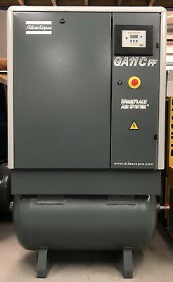 Atlas Copco GA11FF Receiver Mounted Rotary Screw Compressor With Dryer! 11Kw!