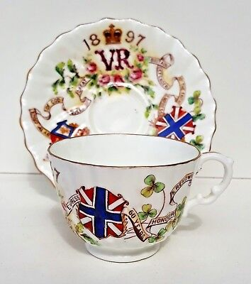 Antique Queen Victoria Diamond Jubilee Cup and Saucer Very Pretty Hard to Find.