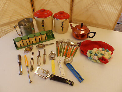 VINTAGE, RETRO KITCHENALIA -CANISTERS, Willow SPICE RACK & SIFTER, UTENSILS, etc