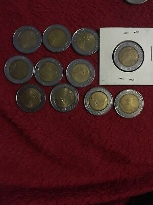 OLD ITALY COIN LOT - 12  Bi-Metal 500 Lire Coins -