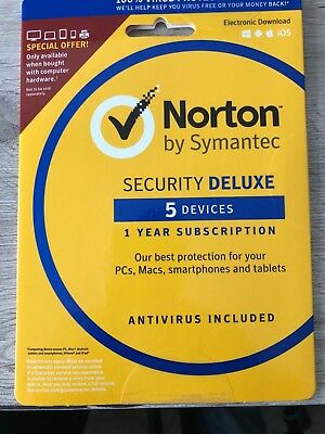 Norton Internet Security DELUXE 2019 5 Device 1 Year  PC MAC Android Phone Tab