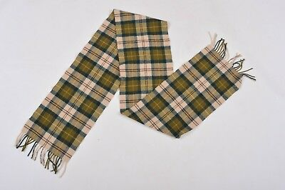 Barbour Green Checked Tartan 100% Lambswool Made in Scotland Unisex Scarf SUPER