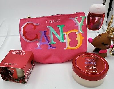 Bath & Body Works I want Candy cosmetic bag with Winter Candy Apple goodies