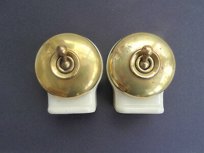 Pair of Vintage CRABTREE BRASS & CERAMIC LIGHT SWITCHES - old antique