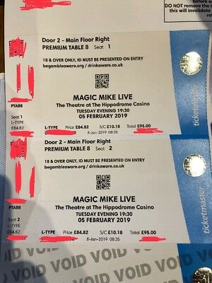 2x Magic Mike Live tickets, 5th February 2019, Premium Table
