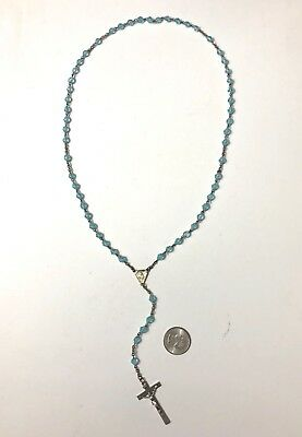 Vintage Full Rosary Large Huge Glass Blue Beads INRI Cross Mary Jesus Antique