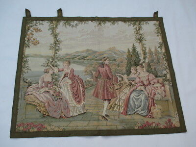 4790 - Old French / Belgium Tapestry Wall Hanging - 79 x 69 cm