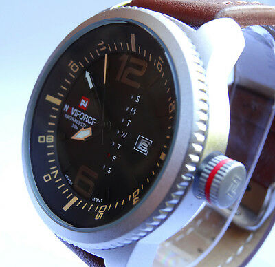 MILITARY 48mm Army Navy Pilot's Aviator's Sport Date Quartz Steel Wrist Watch