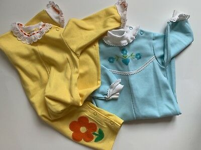 Lot Of 2 Vintage Carters One Piece Romper Jumpsuit Baby Girl Size 12M VGVC