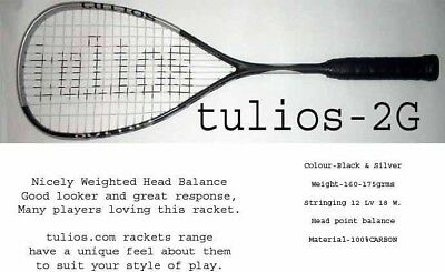 yes Bid from £4.99 TULIOS-2G Brand New Squash Racket 2018-19 + 4 grips free