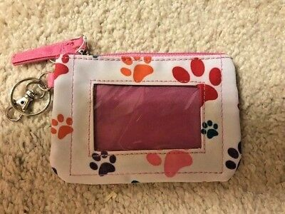 Paw Print Zippered Coin ID Purse