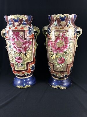 Antique Pair of Beautifully Decorated Large Satsuma Style Vases Cobalt Gold L@@K