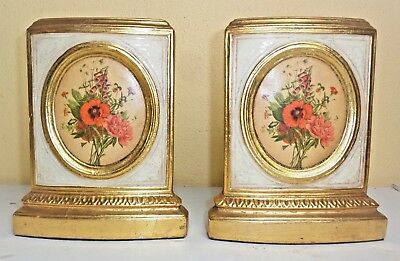 """Vintage Pair of """"BORGHESE ITALY?"""" Bookends Plaster Gold Gilt Floral Flowers"""