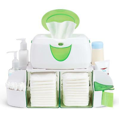 Baby Diaper Duty Organizer Wipe Warmer Dresser Station Towel Nappy Bag Green New