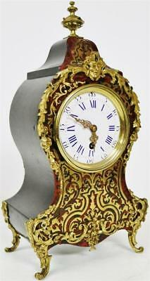 Antique French Brass Inlaid Boulle Mantel Clock 8 Day Red Shell & Bronze Mounted