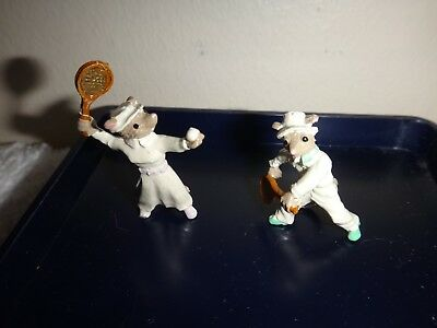 Vintage Pair Miniature Lead Mouse Figures Playing Tennis Mice Figures