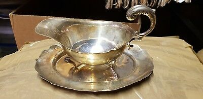 Solid Silver Sauce/gravy Boat With Tray