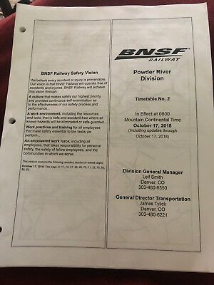 BNSF Powder River Division Timetable #2 Oct 17, 2018